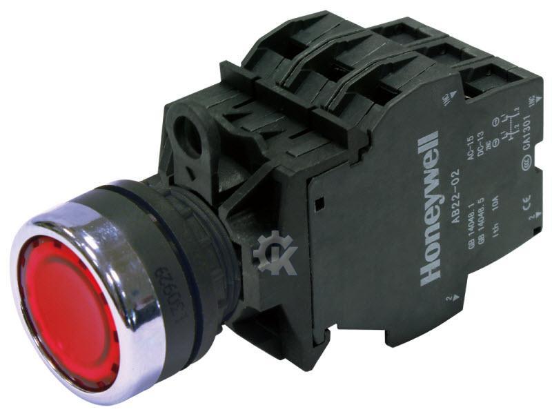 霍尼韦尔PB22/PL22按钮和指示灯产品采用进口塑料材质,适用范围更广,代表全球主流应用,特别是需要抗振动、耐腐蚀以及双重绝缘的应用场合。 霍尼韦尔PB22D-01-AC220V-R:成套平头带灯按钮,1NC,交流220V,红色 按钮头  按钮头外露部分防护等级可达IP65  金属质感外圈经盐雾试验,确保长久保持亮丽色泽  按钮头采用凹形弧状设计,贴合手指,触感更佳  加强型橡胶垫圈,适用高振动,高防护应用场合 触点模块  导电部分采用全铜材质,保证有效接触,长期使用安全可靠  独有双触点模块